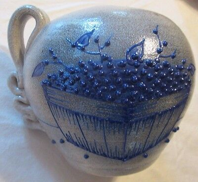 Blue Stoneware Blueberries Crock Vase, Candle holder or Oil Lamp Base? Blueberry