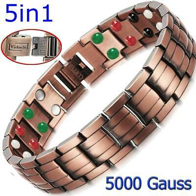PURE SOLID COPPER THERAPY MAGNETIC CHAIN BRACELET MEN ARTHRITIS 5 in 1 Bio PC01V