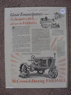 1929 Steel Wheeled Mccormick Deering Farmall Tractor Large Full Page Color Ad