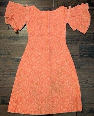 Vintage Women's Dress Orange Bow Lace Homemade Costume 50's 60's Party