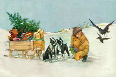 Boston Terrier Dogs & Child Deliver Gifts 1934 LARGE New Christmas Note Cards