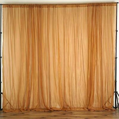 Gold 10 x 10 ft Voile BACKDROP CURTAINS Drapes Panels Home Party Decorations