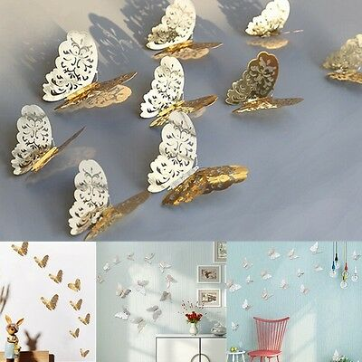12Pcs 3D Butterfly Wall Decal Removable Sticker Hollow Metal Texture Room Decor