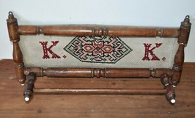 Antique 1900's German wooden kitchen utensil rack with tapestry panel RARE K