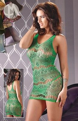 Mandy Mystery Lingerie Mini Netz Kleid Dress Grün Gr. S / L Minikleid |52