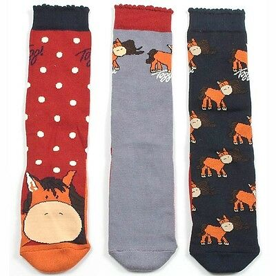 Toggi Children's Binky Horse Riding Socks Pack of 3 Pony Character Artwork Child