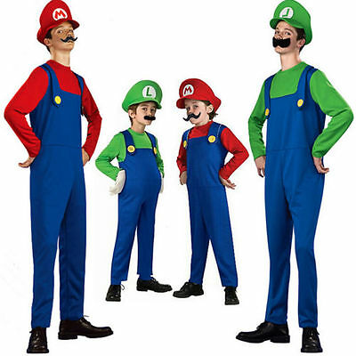 Mens Super Mario Luigi Brothers Cosplay Games Costume Plumber Fancy Clothes hot