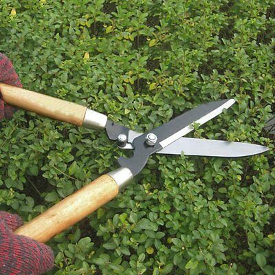 Professional Pruning Scissors Hedge Shears Clippers with Long Wooden Handle GT