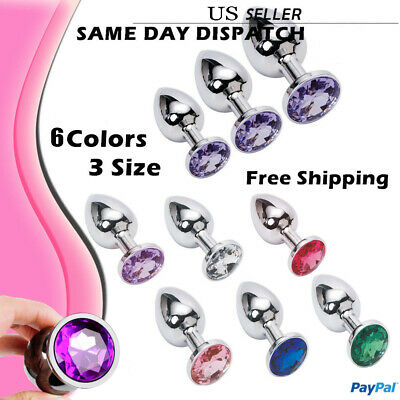 1/3 PC Jeweled Plated Anal Insert Plug Stainless Steel Metal Stopper Foreplay