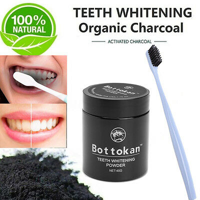 Activated Charcoal Teeth Whitening 100% Organic Tooth Powder + 1Pcs Toothbrush