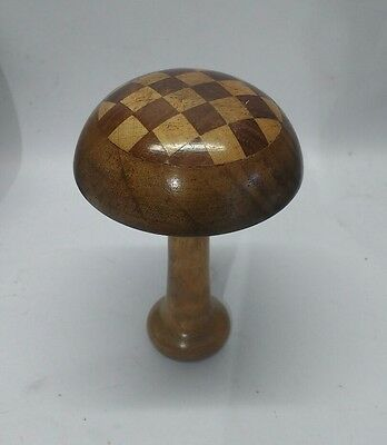Vintage Inlaid WOODEN DARNING MUSHROOM Treen Sewing NEEDLE Compartment Case