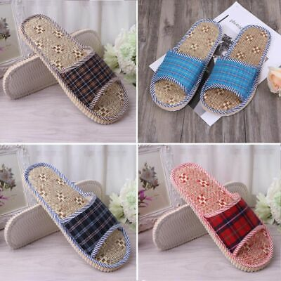 Unisex Linen Flax Plaid House Flat Slipper Home Indoor Cozy Open Toe Scuffs