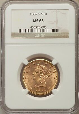 1882-S $10. Liberty Eagle Gold NGC MS63 Major low pop Undervalued Sleeper 17/2