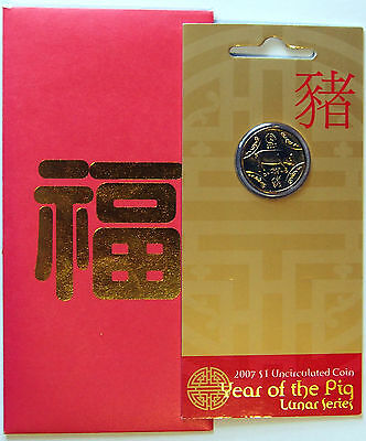 2007 Australia - Lunar Series - Year of the Pig - $1 Coin on card of issue