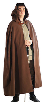 Cosplay-Hobbit-Jedi-LARP-SCA-Medieval WASHABLE WOOL LONG BROWN HOODED CLOAK