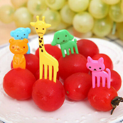 Animal Farm Cartoon Food Fork Fruit Pick Sign Bento Lunch Tableware Party Decor