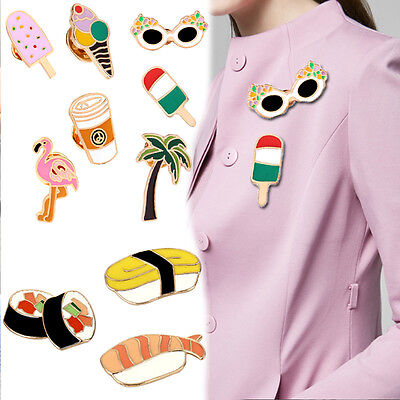 Cute Cartoon Women Men Shirt Label Collar Pins Badge Brooch Enamel Jewelry Gift