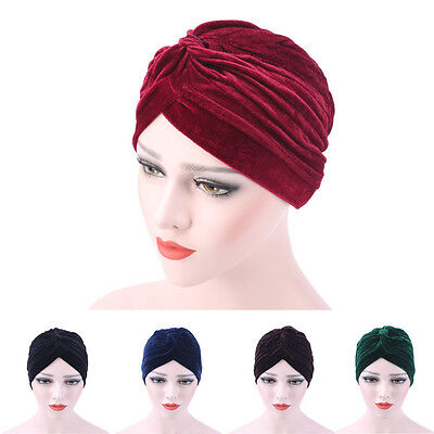 Womens Velvet Muslim Ruffle Cancer Chemo Hat Beanie Scarf Turban Head Wrap Caps