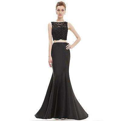 UK Mermaid Lace Long Elegant Formal Cocktail Prom Gown Evening Dress 08434