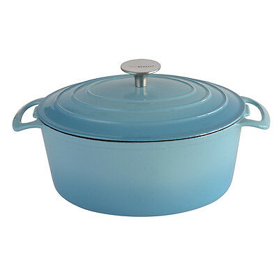 Brand New - ProCook Cast Iron Casserole 26cm / 4.0L Oval Graduated Turquoise
