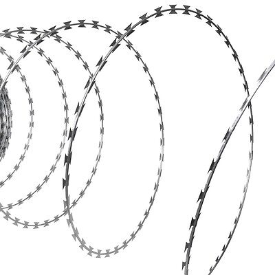 New 100m Barb Wire Fencing Nato Razor Fence Galvanised Steel Garden Barbed Coil
