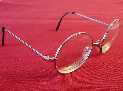 Vintage French Bk Silver Metal Round Eye Glasses Frame Size 133