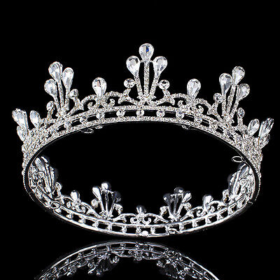 Bridal Rhinestone Tiara Headband Wedding Prom Crystal Crown Full Silver Tiaras