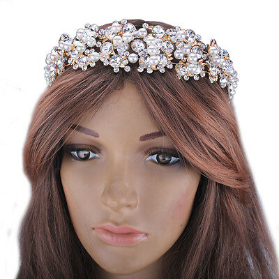 Charm Princess Pearl Crystal Tiara Headband Prom Bridal Rhinestone Prom Crown