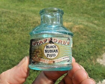 Stafford's Black Nubian Fluid Ink 1890 Labeled Hand Blown Ink Bottle