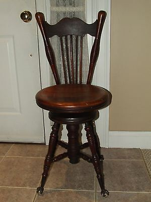 Antique Victorian Mahogany High Back Piano Stool with Glass Ball Brass Claw Feet