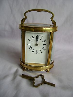 Antique French Oval Brass Carriage Clock + Key In Good Working Order
