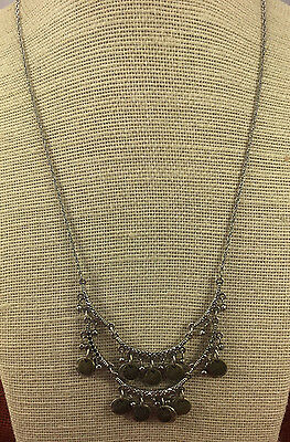 Vintage Necklace American Eagle Outfitters Silver & Brass Etched Coin Kuchi