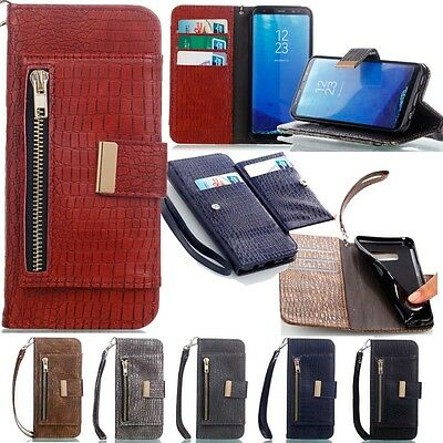 Magnetic Flip Crocodile Leather Wallet Case Cover For iPhone Samsung Galaxy Phon