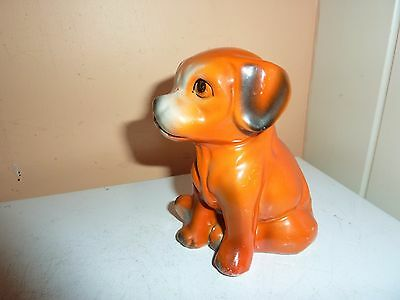 Mid 20Th Cent Chinese Pottery 10.5Cm High Orange/black Sitting Down Coloured Dog