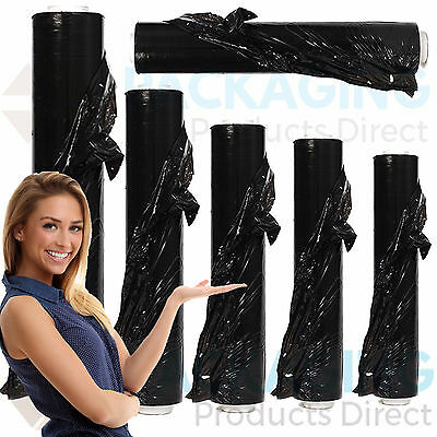 6 Strong Rolls Black Pallet Stretch Shrink Wrap Parcel Packing Cling Film *fast*
