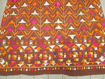 """OLD Vintage Huge Hand Embroidered Hand Loomed Cotton TEXTILE INDIA 98"""" x 52"""""""