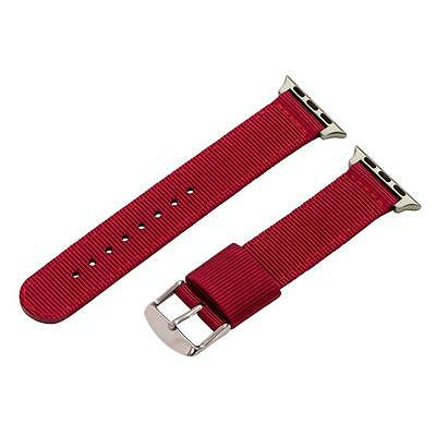 Red 2 Piece RAF Nylon SS Watch Band for 38mm Apple Watch