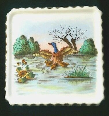 Antique Tea Trivet Duck ducklings Pond Lilies polychrome porcelain dish Dresden
