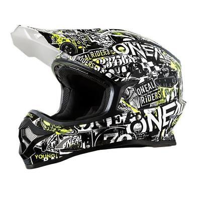 Oneal 2018 3 Series Attack Motocross Kids Helmet - Schwarz - Neon Yellow