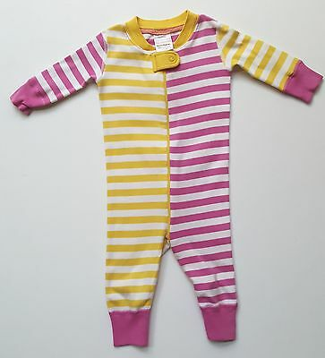 Hanna Andersson 60 6-9 months baby girls zip-up sleeper pajamas striped KB1