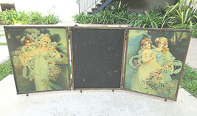Collectible 1899 Antique Brass Tri-Fold Celluloid Back Bevel Glass Vanity Mirror