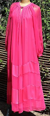 Vintage 1970's LOUIS FERAUD for Rembrandt Sheer Pink Evening Maxi Dress UK 10/12