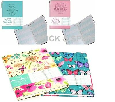 2018 A5 Family Mums Organiser Diary Week to View Desk Diary PInk Teal Flowers