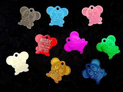 Personalised Pet Id Tag,Mouse Shape,Deep Engraving,Choice of Colours