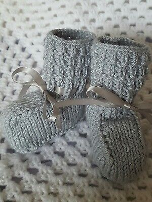 Beautiful hand knitted baby booties 0-3mths