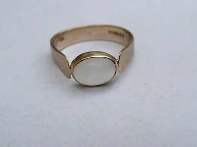 Superb Ladies Childs Solid 9Ct Gold Moonstone Signet Pinky Ring Size K 16Mm Dia