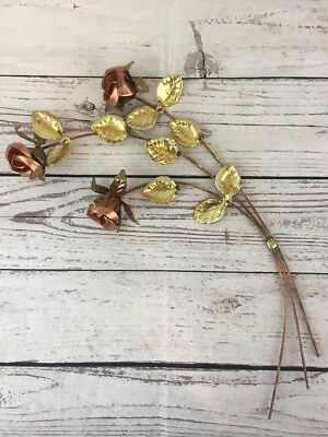 Vintage Homco Brass Gold Tone Copper Metal Rose Flower Leaves Wall Hanging