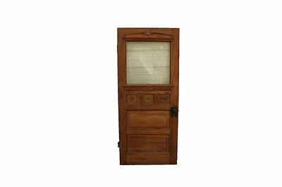 Vintage Antique Wood Exterior House Door With Frosted Etched Glass Elk Scene