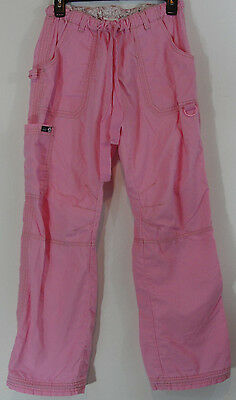 Koi by Kathy Peterson Womens Scrub Pants Small Pink Cargo Style 701 Excellent