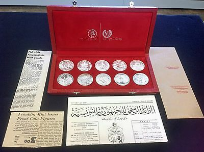 10 Sterling Silver Coins Franklin Mint Tunisienne / Tunisia 1 Dinar 1969